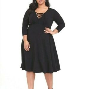 Torrid 4X Dress Lace Up Midi Black Jersey V-Neck